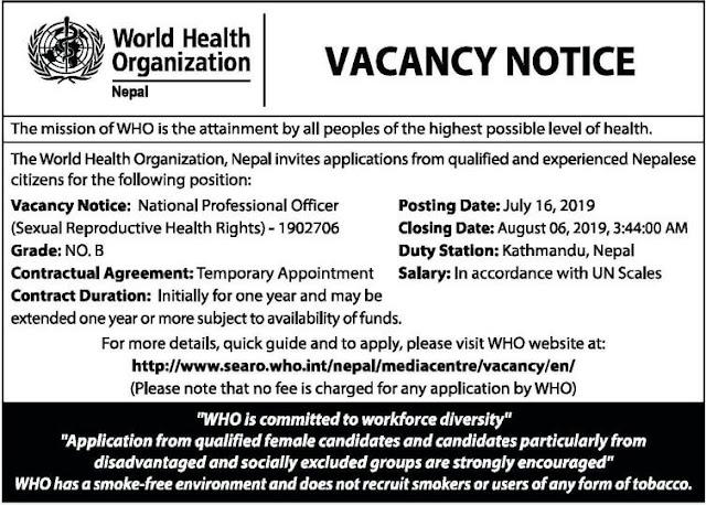 World Health Organization (WHO) Vacancy Notice