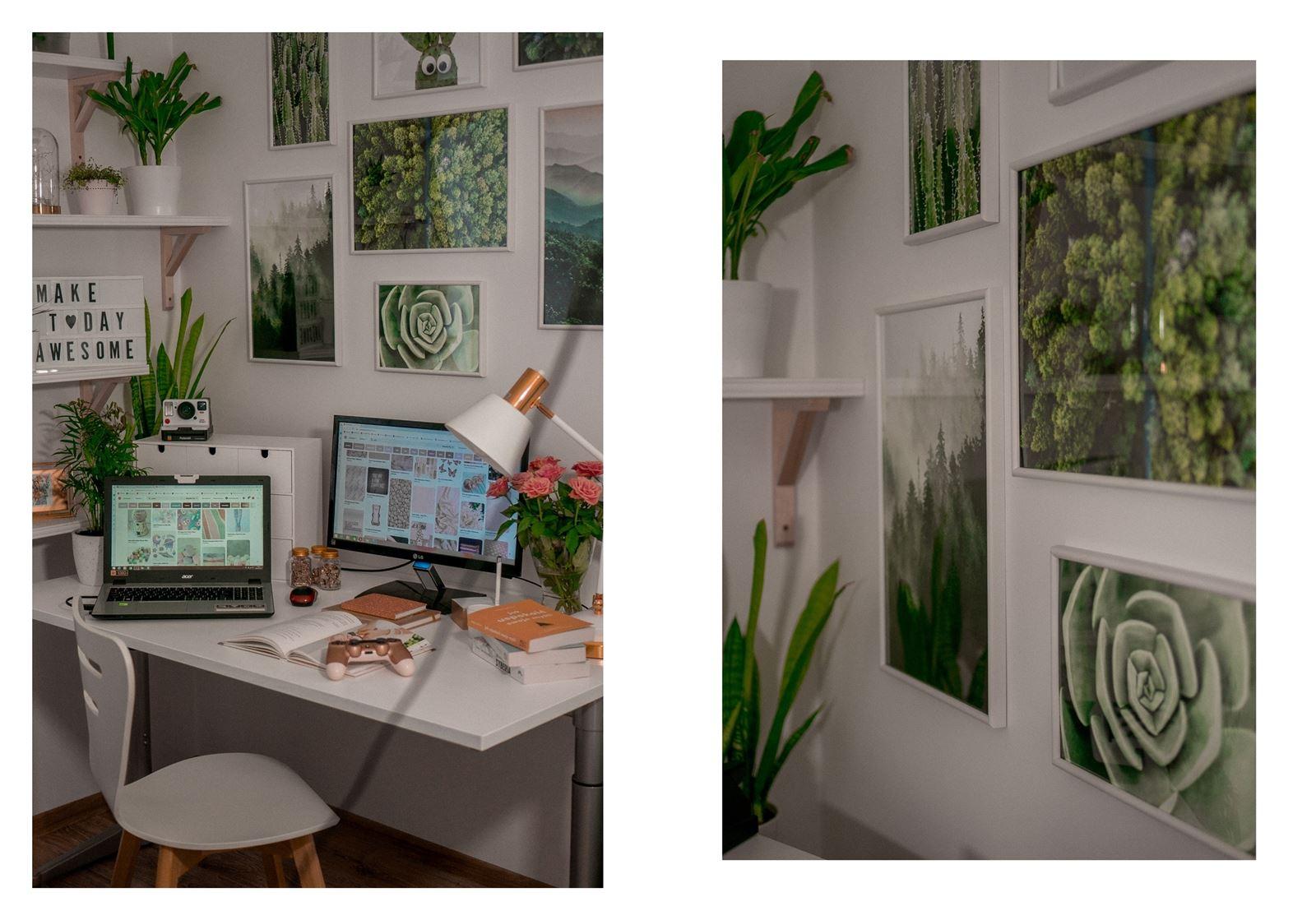 13a jak urządzić biuro w domu - dekoracje do biura, zielona ściana w mieszkaniu, jak zaprojektować galerię plakatów, plakaty krajobrazy rośliny na ścianę jak zawiesić obraz na ścianie plakaty w ramach