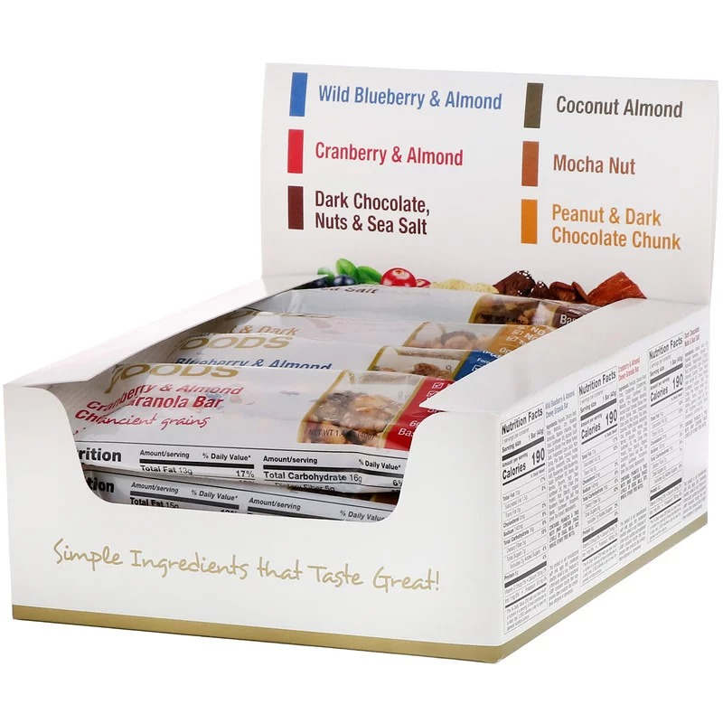 California Gold Nutrition, Foods, ассорти батончиков-снеков, 12 батончиков весом 1,4 унции (40 г) каждый