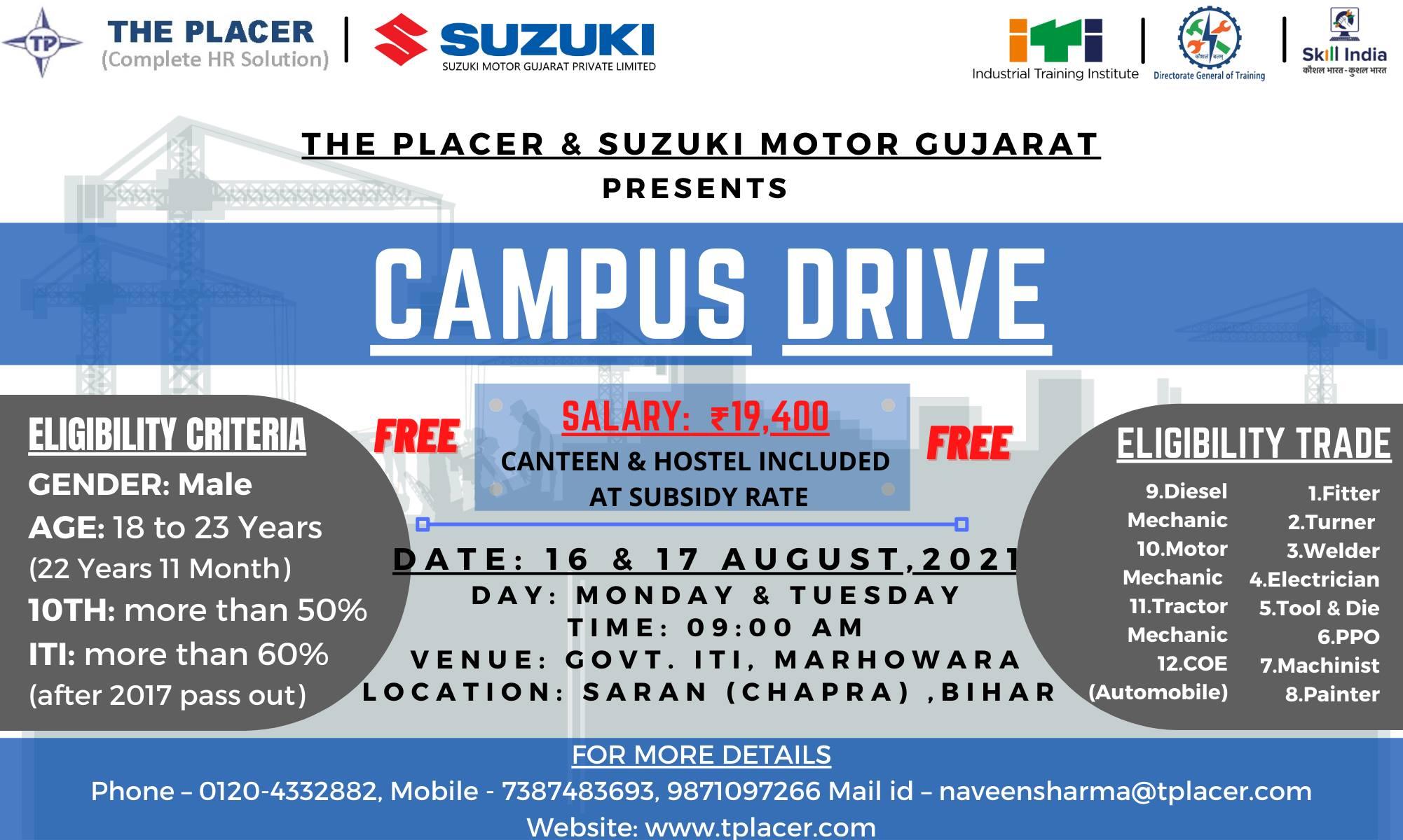 ITI Campus Placement at Pilani, Rajasthan   Jaipur, Rajasthan    Jhunjhunu, Rajasthan   Chappra, Bihar    Suzuki Motor