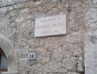 A plaque marks the birthplace of Ignazio Silone in the Abruzzo town of Pescina dei Marsi