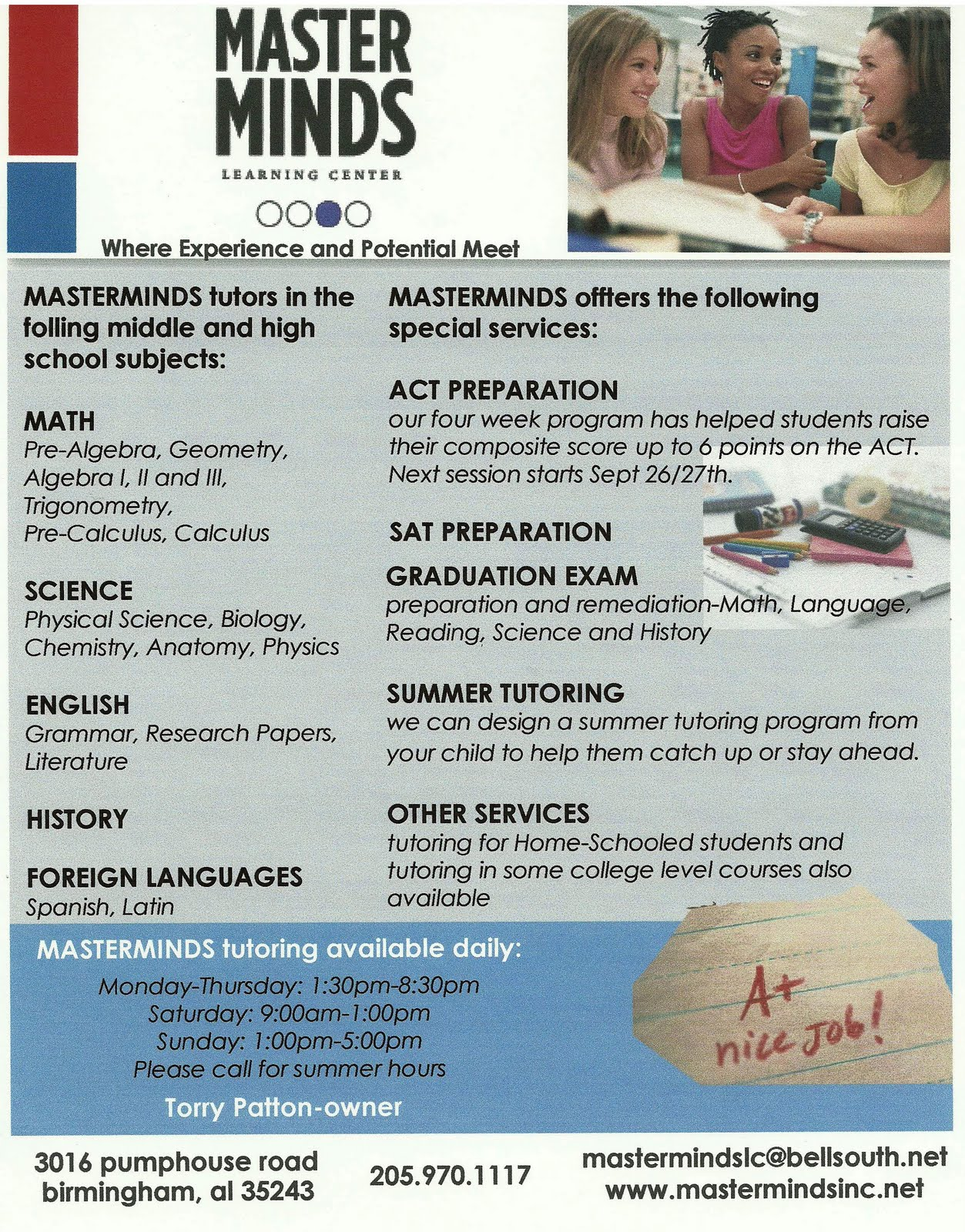 sample flyers tutoring services