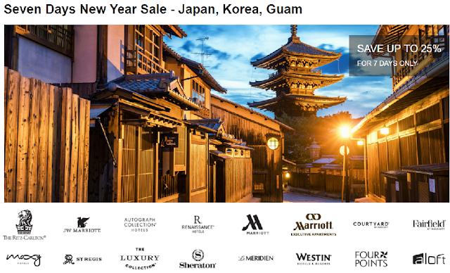 Marriott萬豪酒店日本、韓國與關島7日閃促最高可享25%折扣(1/20前預訂)