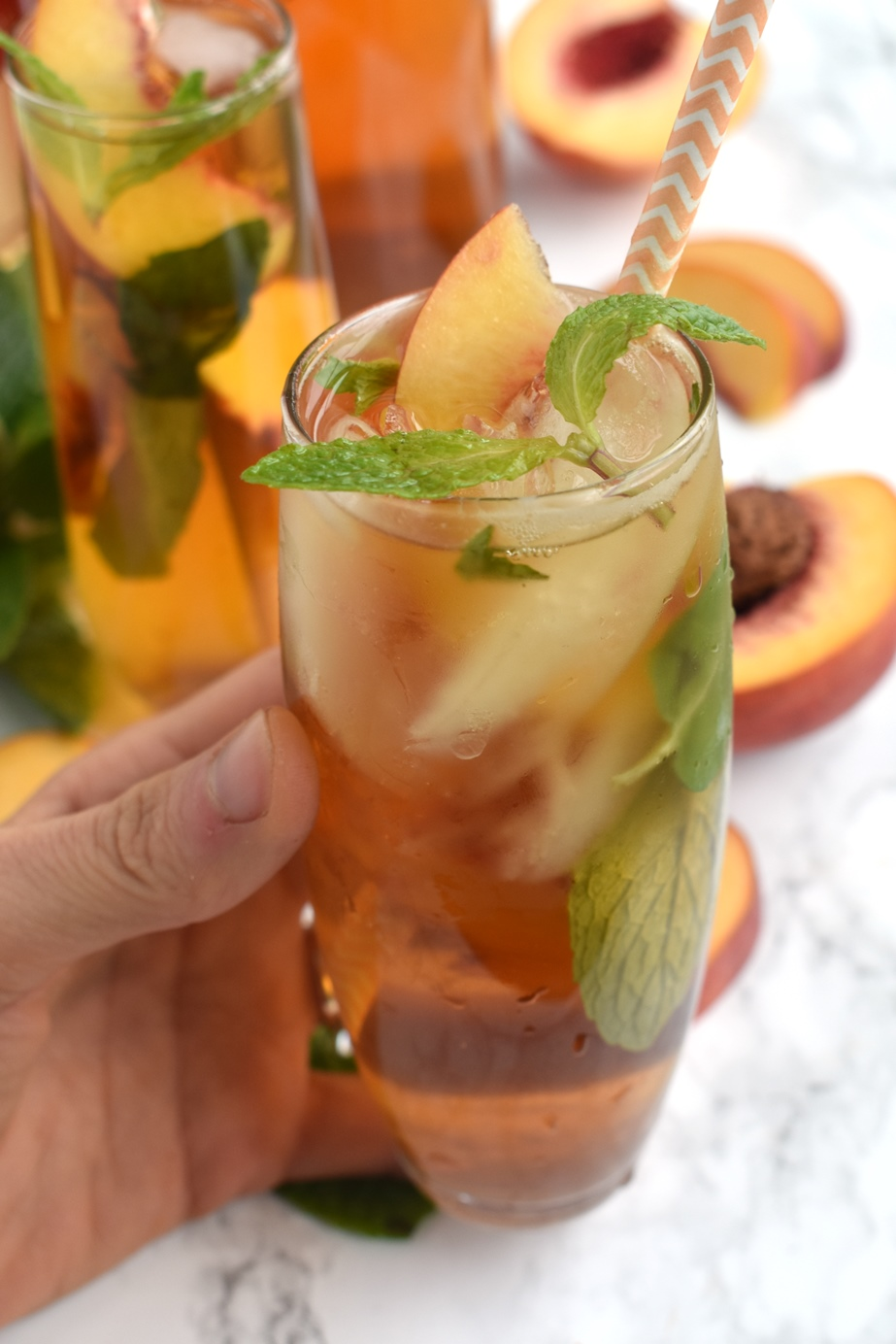 glass of peach mint iced tea