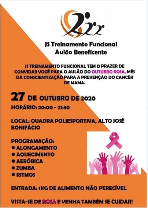 Outubro Rosa com Aulão Beneficente em prol da LBV