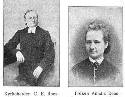 Muotokuvissa C.E. Roos papin liperein ja nuori Amalia Roos