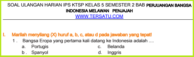 download Soal-Soal UH IPS KTSP Kelas 5 Semester 2