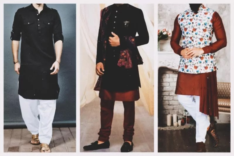 Three men wearing kurta pajama in different ways.