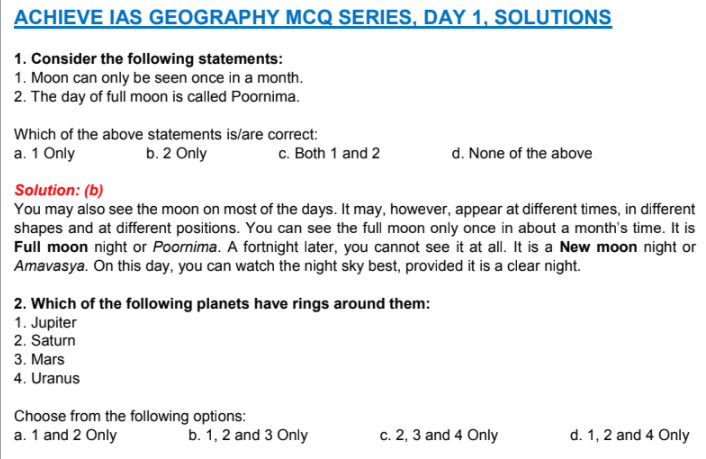 NCERT Geography for UPSC MCQ Prelims Exams PDF Download