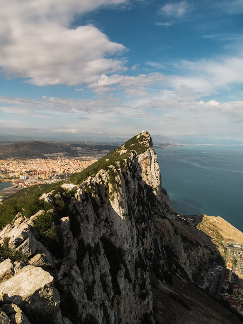 Rocky landscape view from the top of Gibraltar.