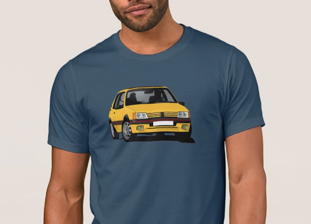 Yellow fabulous Peugeot 205 GTi print t-shirt