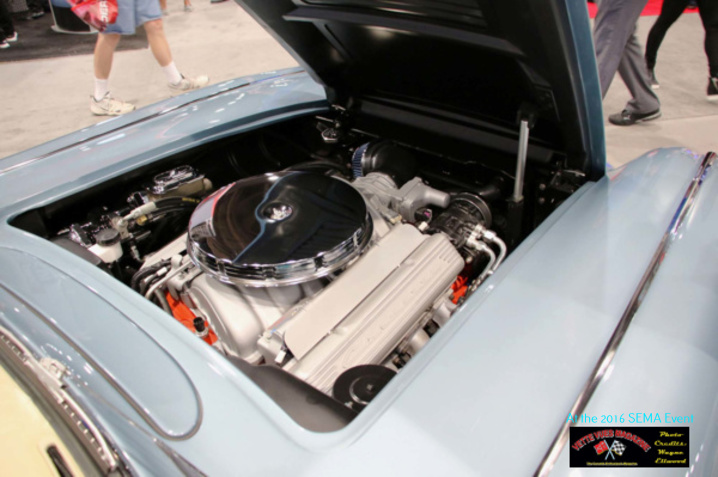 This 1958 Custom Corvette's engine is a GEN III small block with a retro engine package. This is complemented by a TREMEC TKO-600 five-speed and a Hurst short throw shifter.