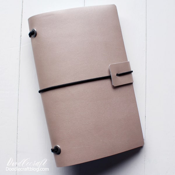 How to make a refillable leather journal with Cricut Metallic rose gold leather.