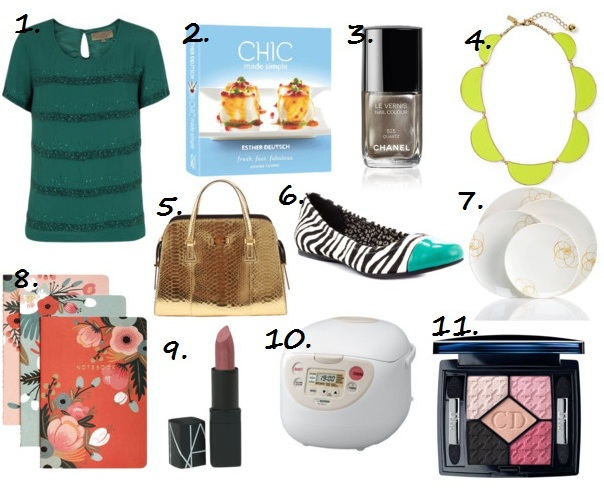 a020480e59bf 1. Constellation Stripe Emerald Top 2. Chic Made Simple Cookbook By Esther  Deutsch 3. Chanel Quartz Nail Polish 4. Kate Spade Yellow Scallop Necklace 5 .