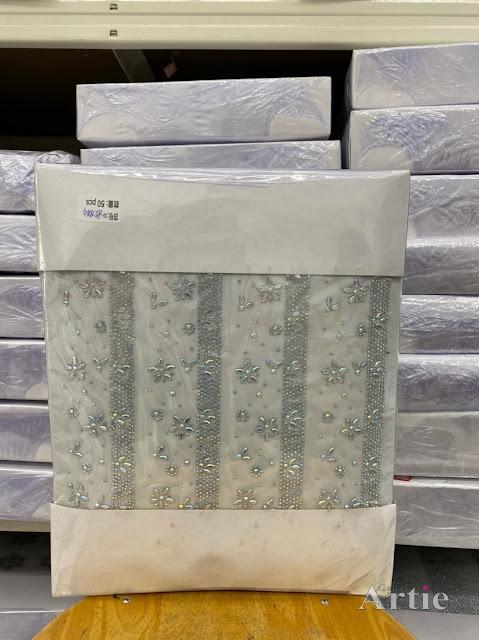 Pelekat hotfix sticker rhinestone DMC aplikasi tudung bawal fabrik pakaian bunga line tebal