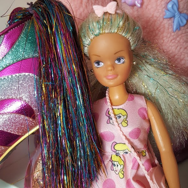 comparison of 80's Sindy doll with tinsel in hair like Irregular Choice tinsel tail on zebra shoe