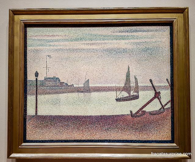 """""""O Canal de Gravelines, Noite"""", tela de Georges Seurat no MoMA de Nova York"""