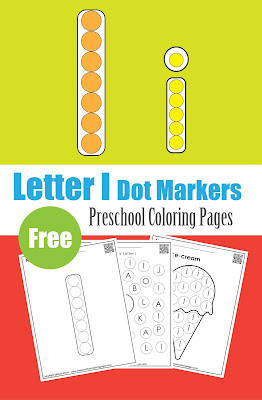 Letter I dot markers free preschool coloring pages ,learn alphabet ABC for toddlers