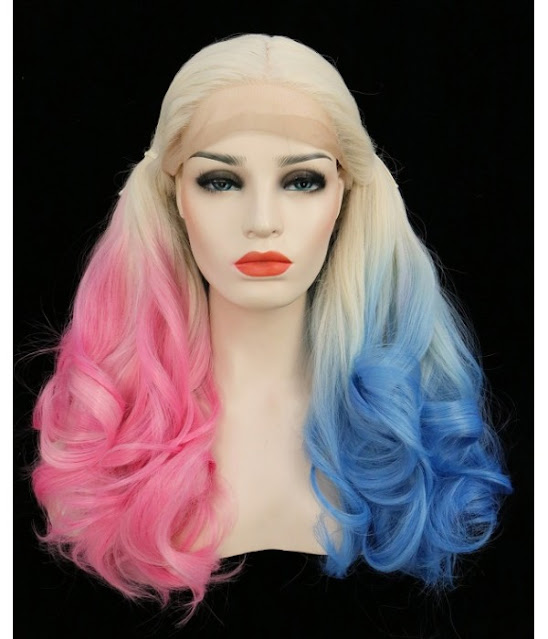 Harley | Blue/ Pink Bunches Long Wavy Synthetic Lace Front Wig | Harley Quinzel