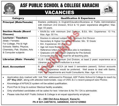 Jobs Latest Jobs ASF Public School & College 2021