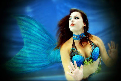 mermaid raven swimming for special event modelling