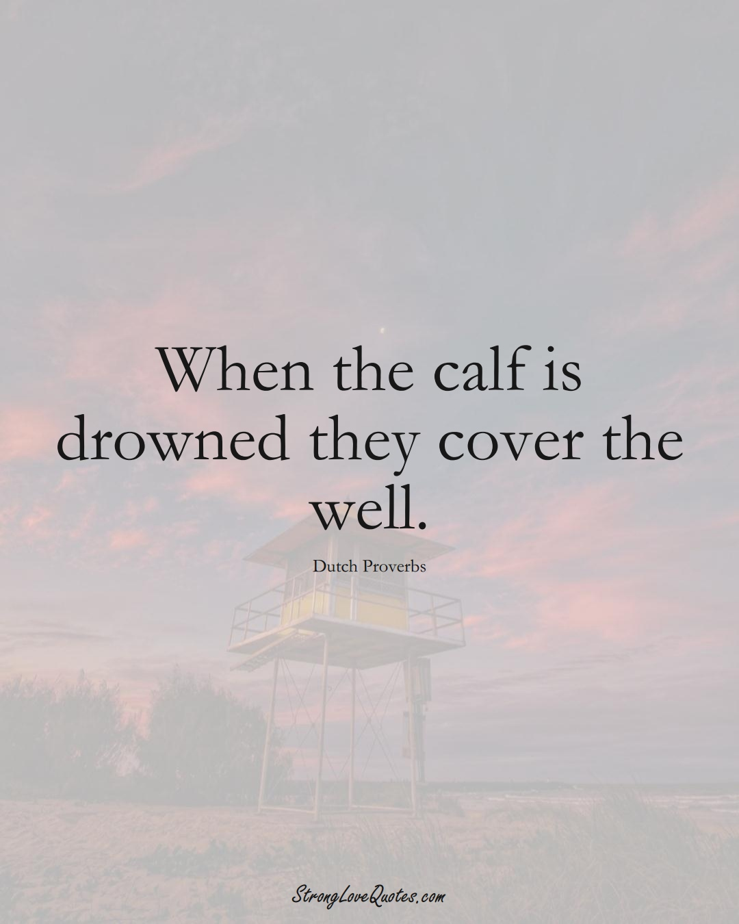 When the calf is drowned they cover the well. (Dutch Sayings);  #EuropeanSayings