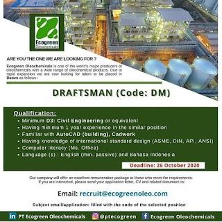 Draftsman di PT Ecogreen Oleochemicals