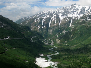 Rhône river flowing through the valley, descending western side of the Furkapass, Switzerland
