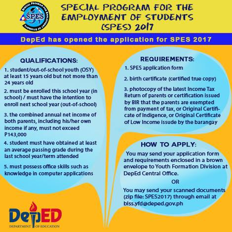 Special Program for the Employment of Students (SPES) 2017