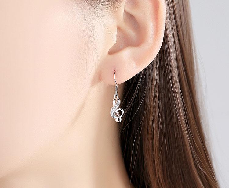 氣質音符鍍銀耳環