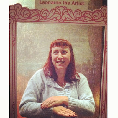 #finddavinci Bridget Eileen, Proud Geek, Poses like Mona Lisa at the Da Vinci the Genius Exhibit at the Museum of Science, Boston