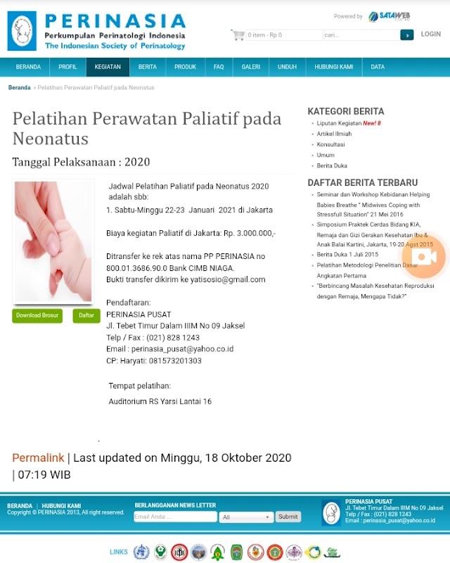 Pelatihan Paliatif pada Neonatus 2021 PERINASIA