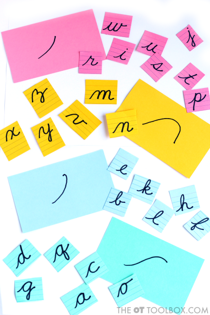 Make these index card flash cards to play a letter memory game that teaches kids about cursive writing starting lines to help kids learn to write cursive handwriting.