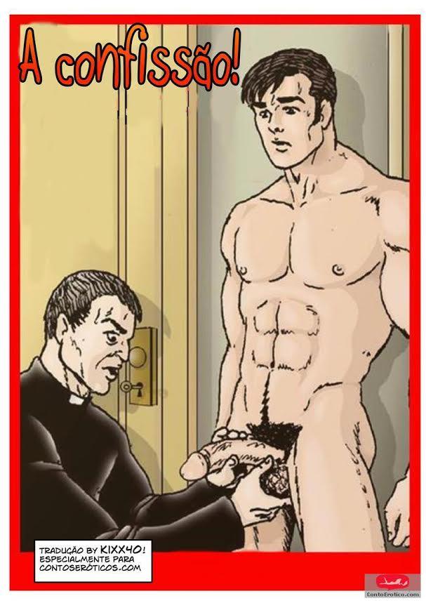 No confessionário com o padre - HQ Gay