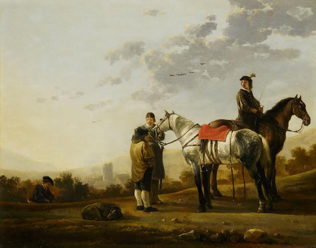 Альберт Кёйп - Два всадника, говорящие с крестьянином. 1650-е