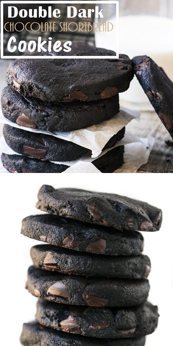 Double Dark Chocolate Shortbread Cookies #cookiesrecipes
