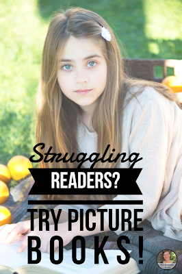 Help Middle School struggling readers understand key concepts of reading using picture books!  #teaching #reading