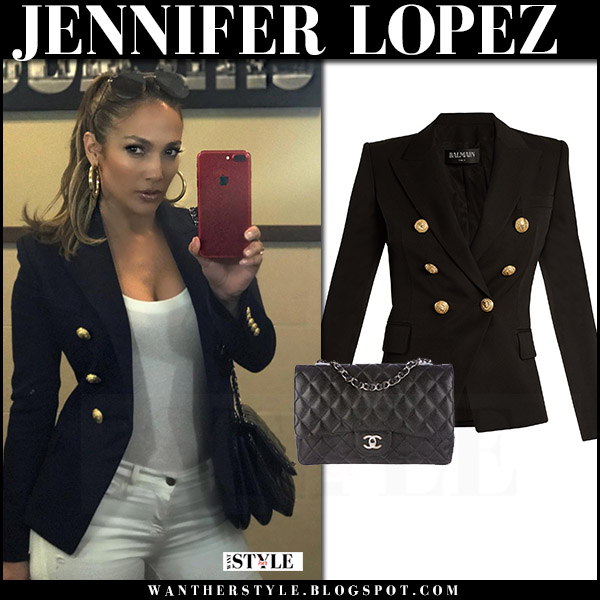 Jennifer Lopez in black double breasted gold button blazer balmain what she wore july 29 2017 fashion
