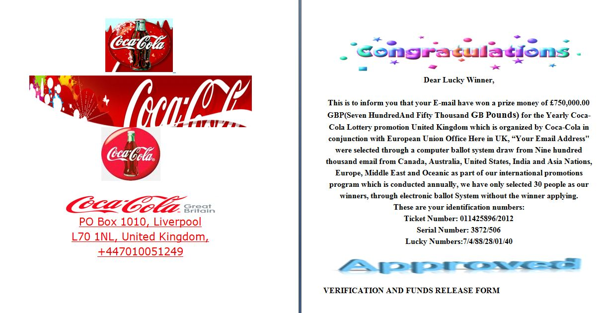 Coca Cola Lottery Promotion Prize Winner Online Scam