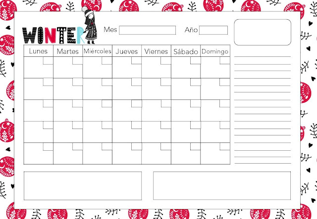Calendario mensual winter 2020 gratis
