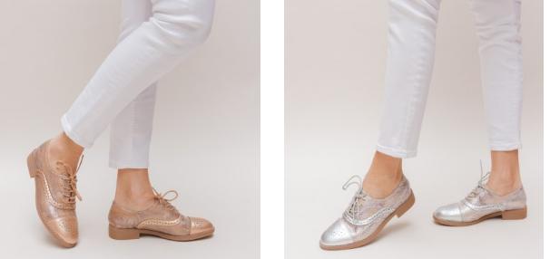 Pantofi Casual Linda Aurii, argintii de dama moderni la moda 2019