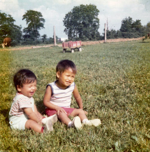 two Vietnamese babies sitting in grass