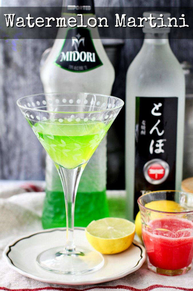 Watermelon martini with Midori and pureed watermelon