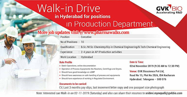 GVK Bio - Walk-in drive for Executive (Production) on 2nd November, 2019