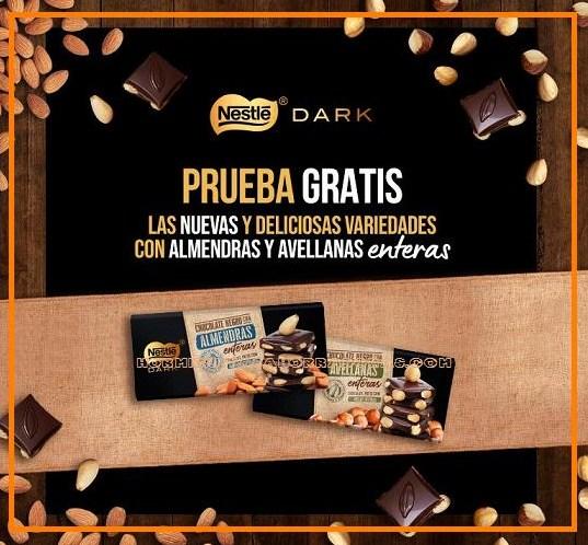 Prueba gratis chocolate Nestlé Dark con almendras o con avellanas