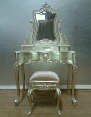 meja rias ukir mewah warna silver
