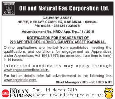 ONGC Karaikal Invites Online Applications of Apprentices Vacancy Notification 2019