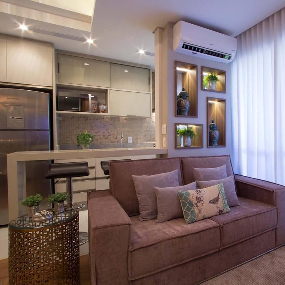 Salas E Cozinha Integradas No Apartamento Pequeno E Luxuoso