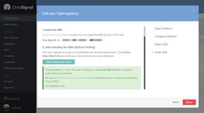 add onesignal push notifications to blogger blog