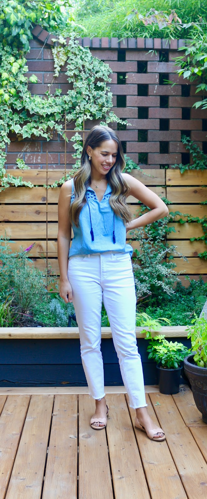 Jules in Flats - Sleeveless Tassel Tie Chambray Top with White Jeans (Business Casual Workwear on a Budget)